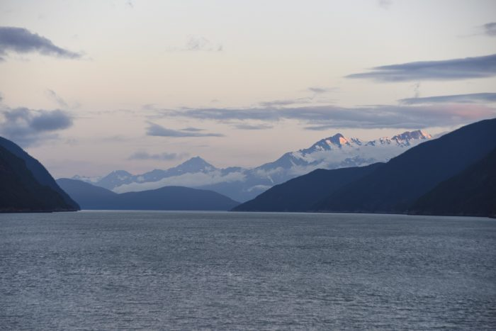 View from Balcony at Dawn Alaskan Cruise